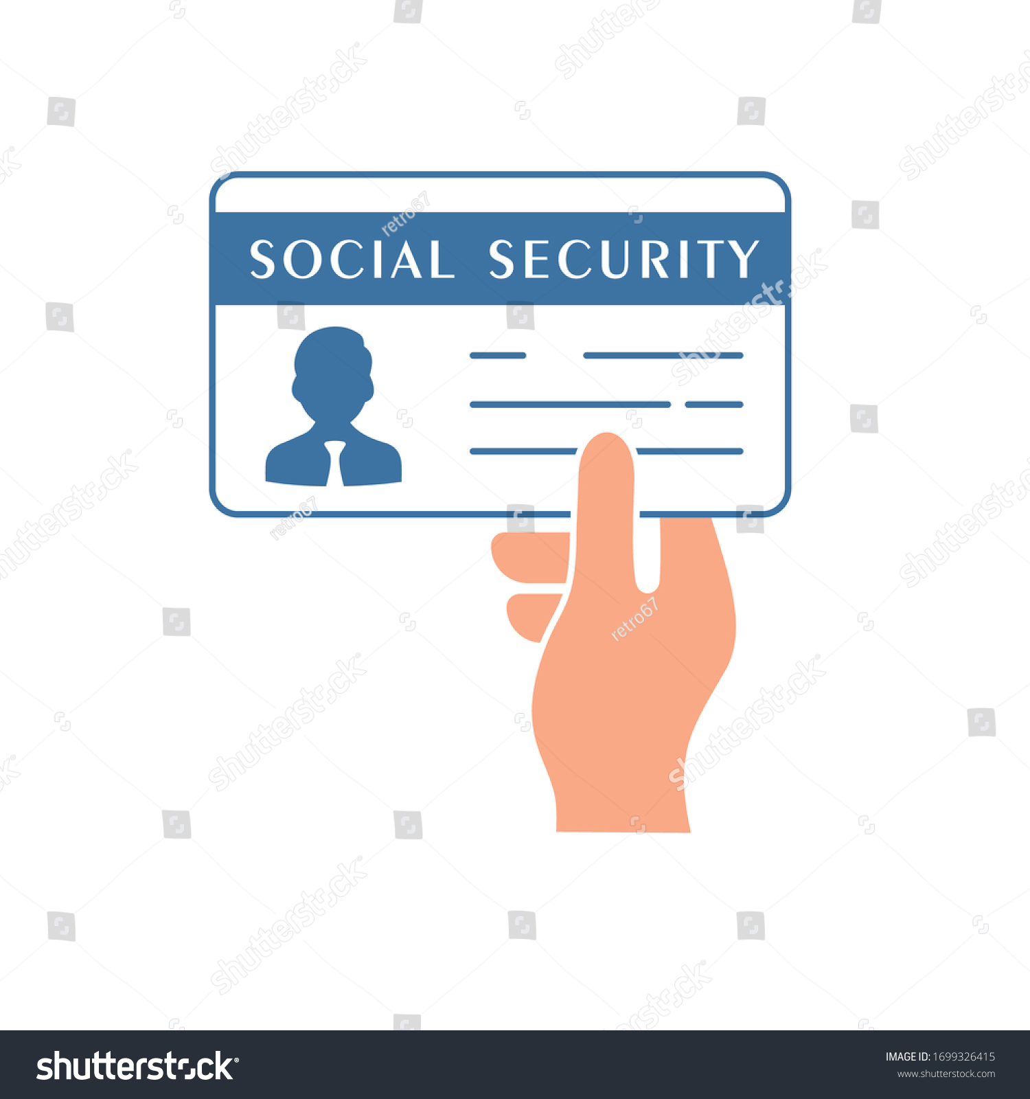 Social Security Card Vector Illustration Flat Stock Vector Royalty Free 1699326415