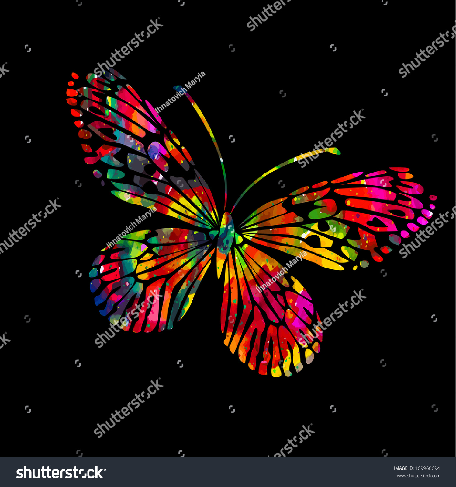 Colorful Butterflies On Black Background Stock Illustration ...