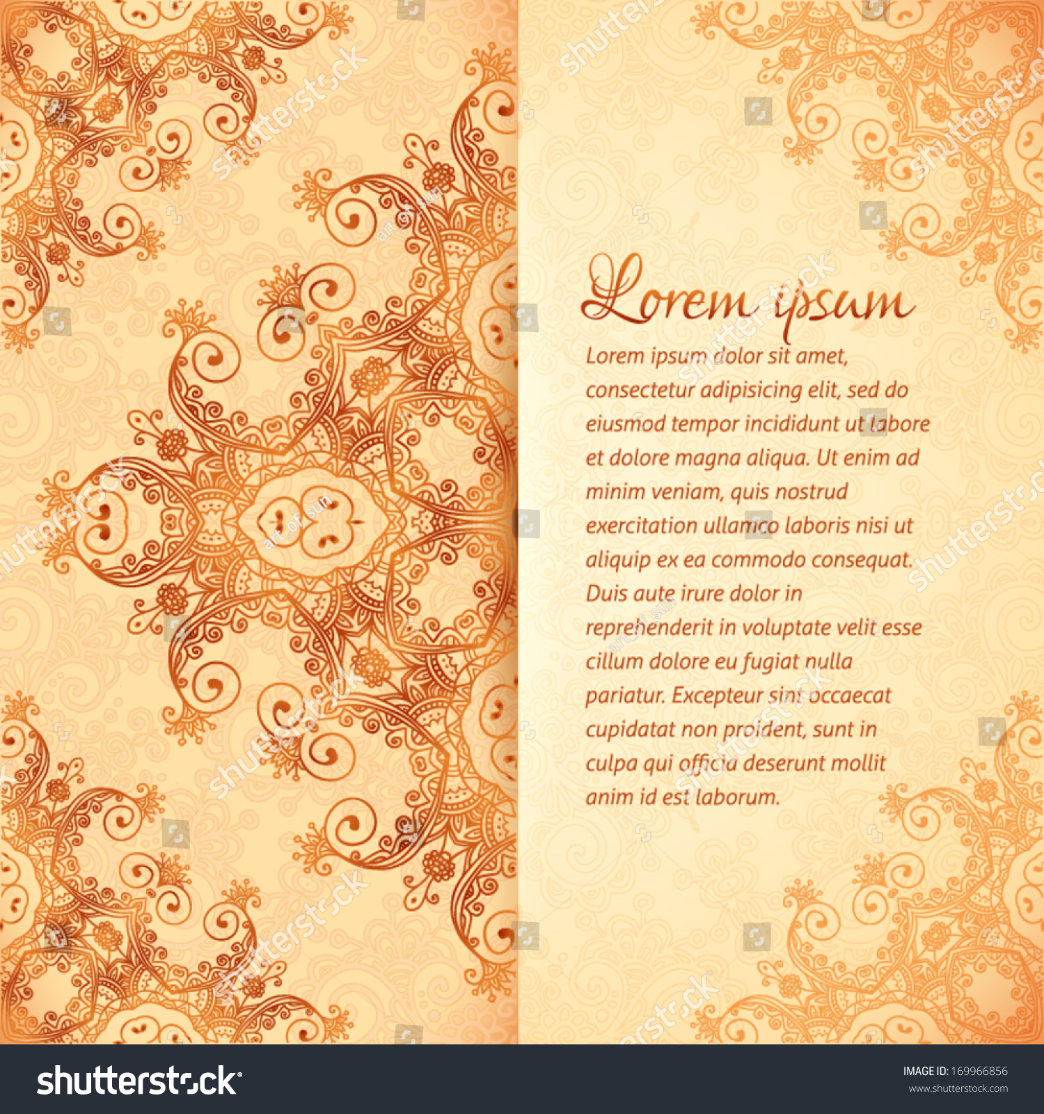 Ornate vintage vector background in mehndi style royalty free stock - Ornate Vintage Vector Card Template In Indian Mehndi Style