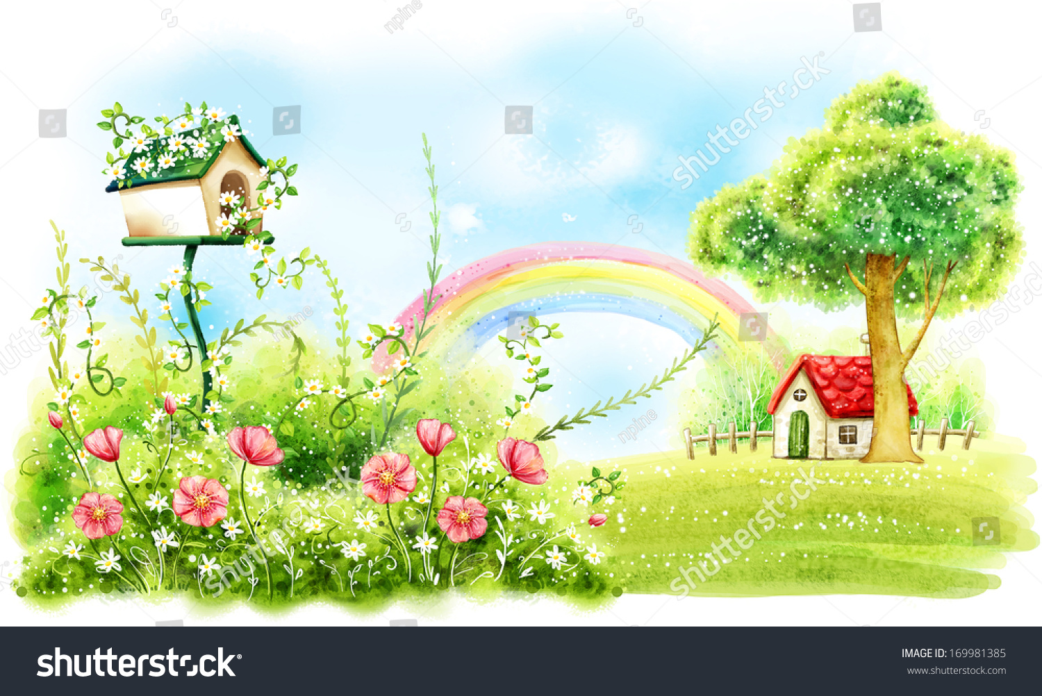 Bright Green House Bright Green Foliage With Pink Flowers And A Red Roofed House Under A