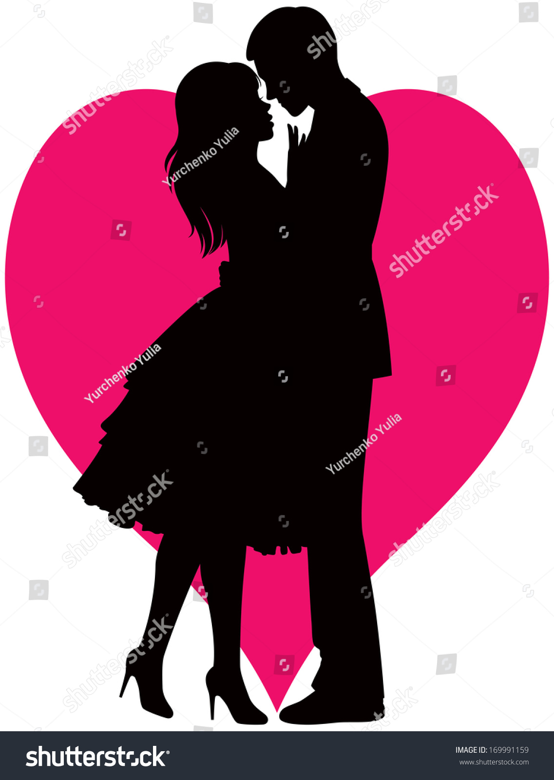 Illustration black silhouette lovers embracing on stock for Pictures of black lovers