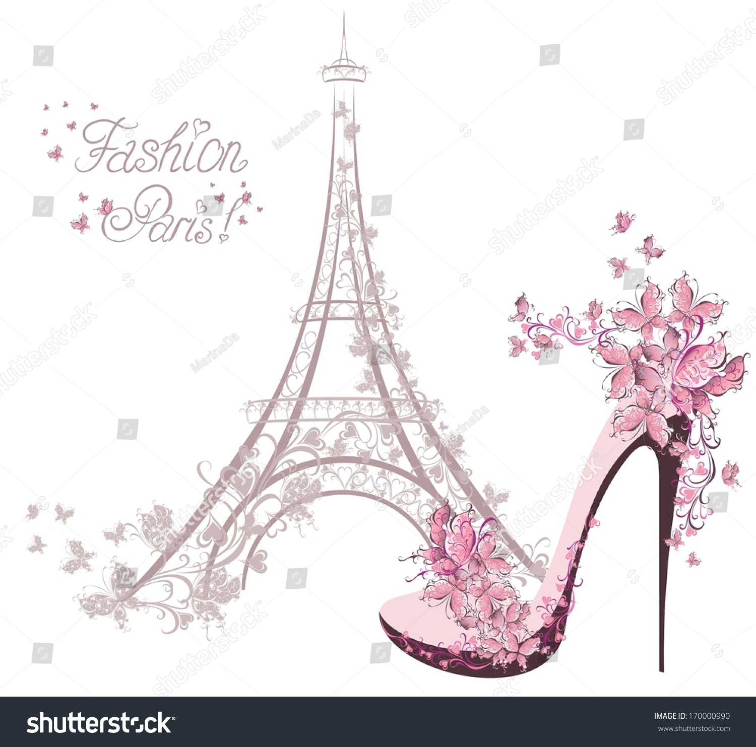Highheeled Shoes On Ba... Eiffel Tower Silhouette Pink