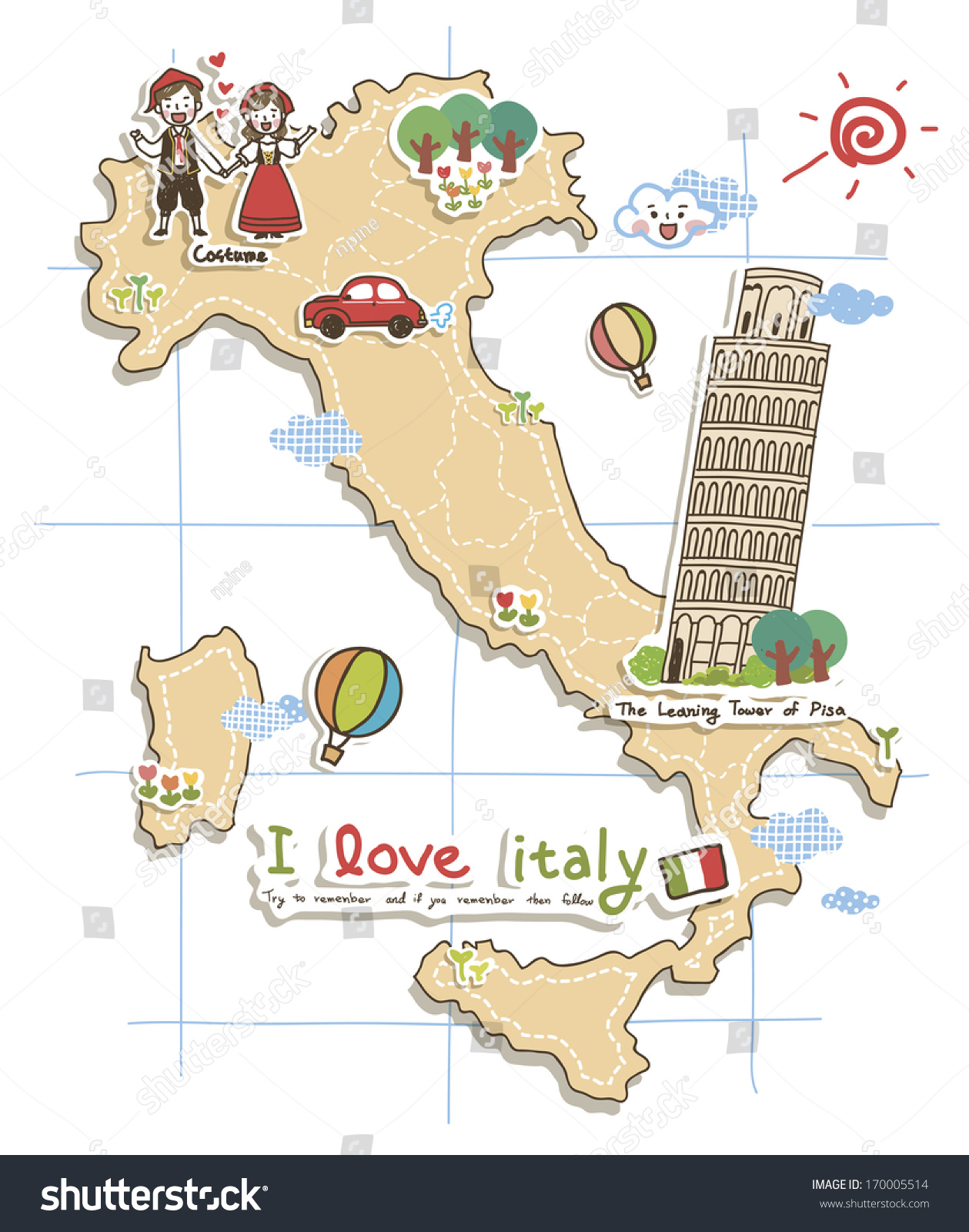 map depicting tourist attractions in italy. map depicting tourist attractions italy stock illustration