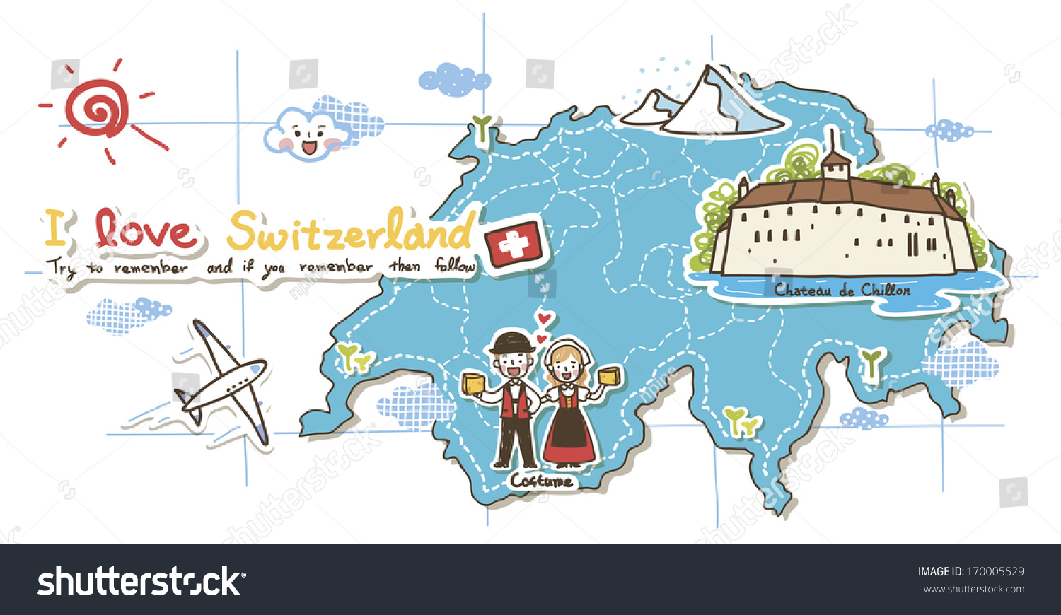 Map Depicting Tourist Attractions Switzerland Illustration – Tourist Map of Switzerland