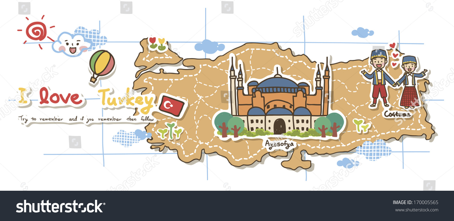 Map Depicting Tourist Attractions Turkey Illustration – Turkey Tourist Attractions Map