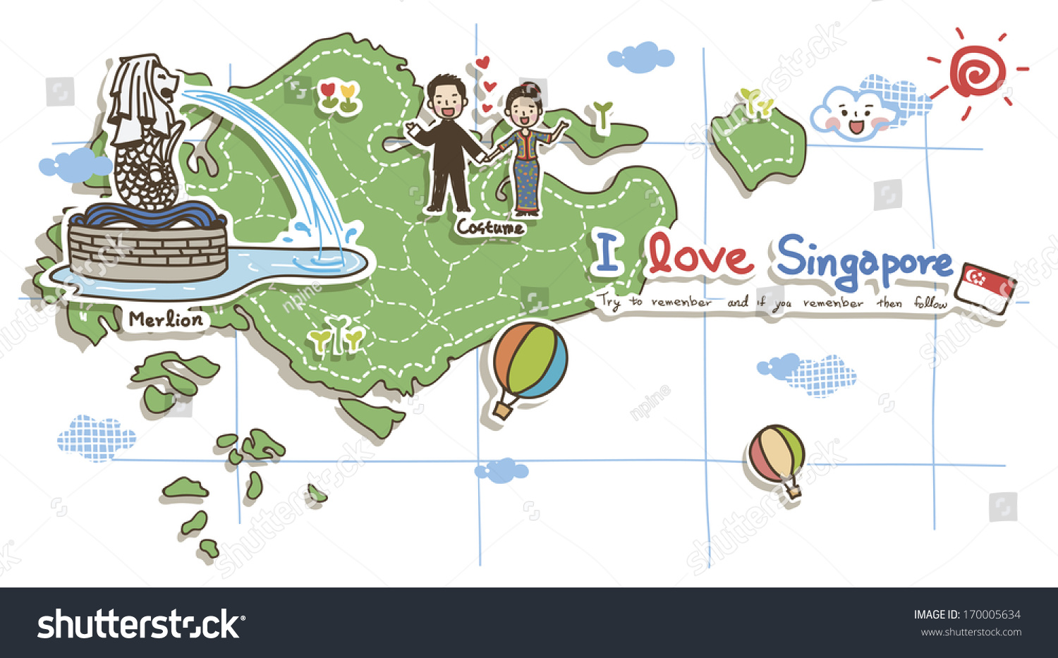 Map Depicting Tourist Attractions Singapore Illustration – Singapore Tourist Attractions Map
