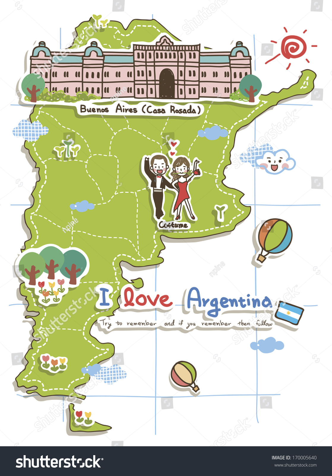 Map Argentina Showing Locations Some Tourist Illustration – Tourist Map of Argentina