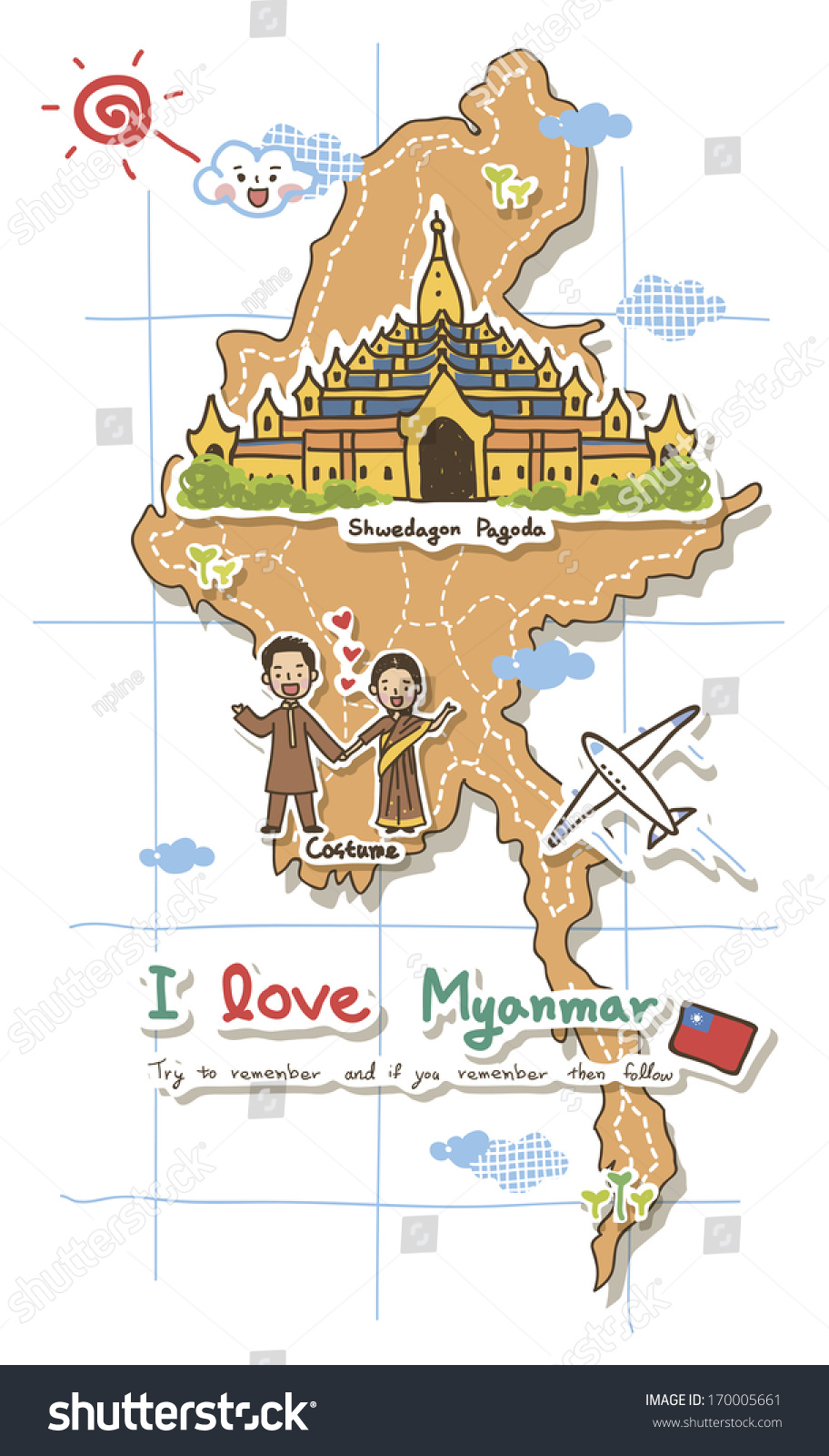 Map Depicting Tourist Attractions Myanmar Illustration – Burma Tourist Map