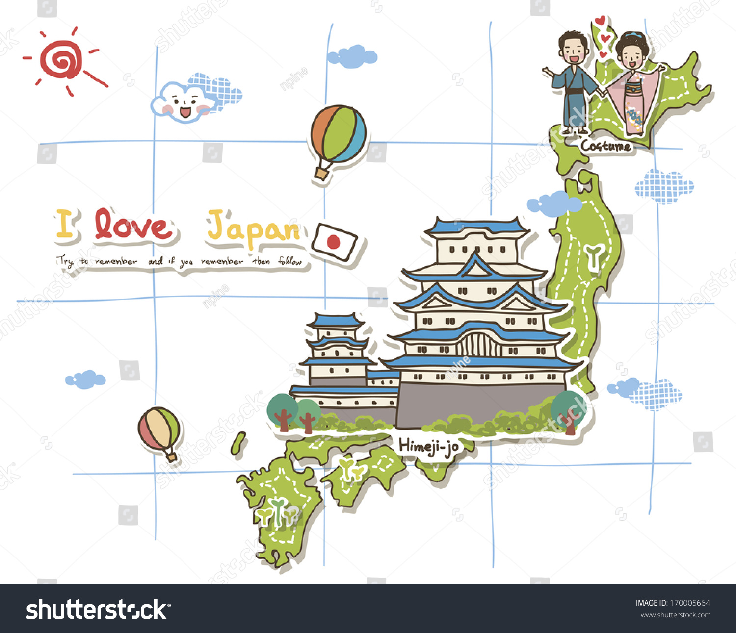 Map Depicting Tourist Attractions Japan Illustration – Tourist Map Of Japan English