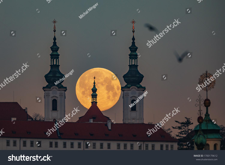 super full moon above the Strahov Monastery in Prague