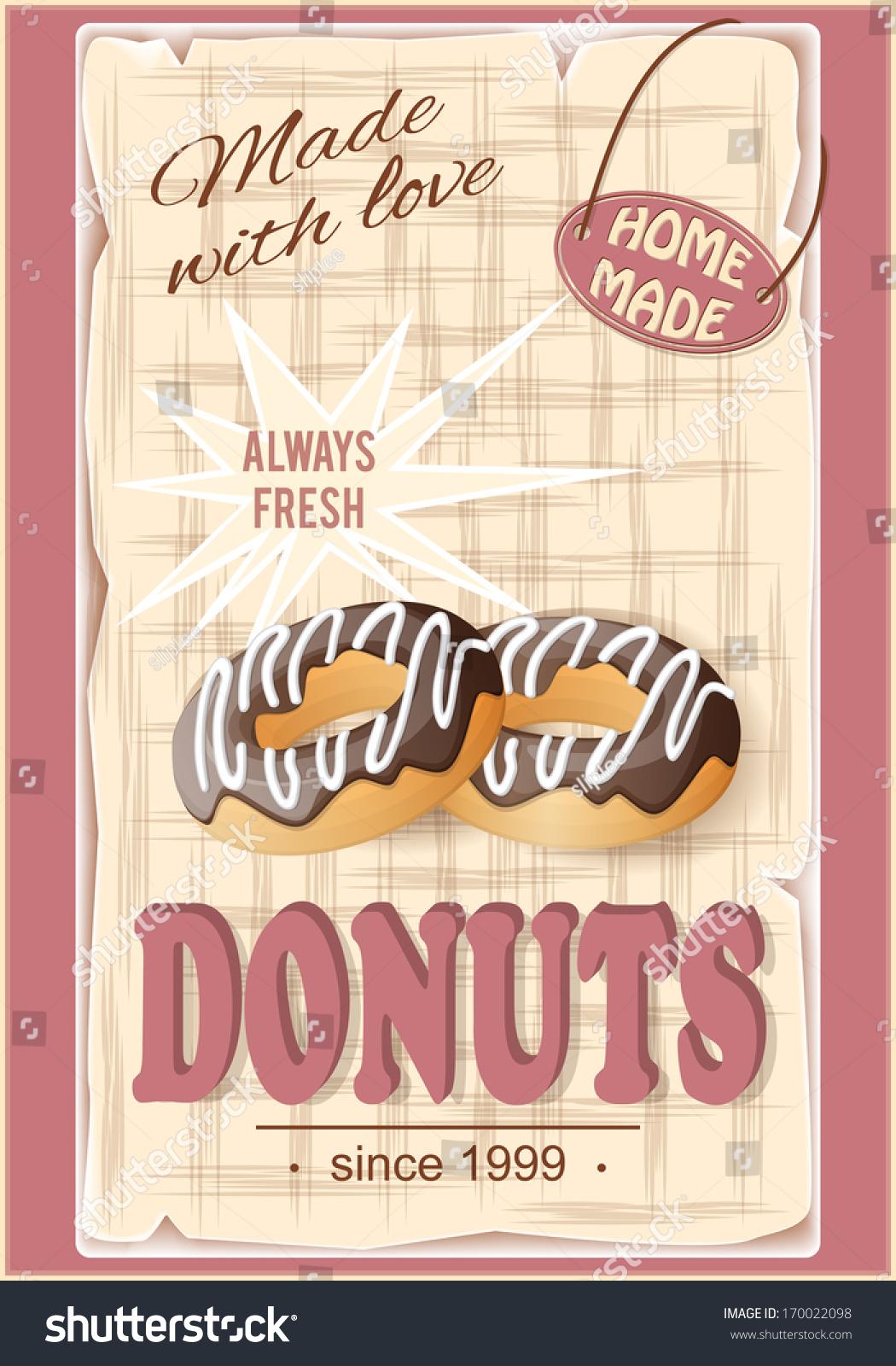 Vector Illustration Banner Donuts On Vintage Stock Vector Royalty