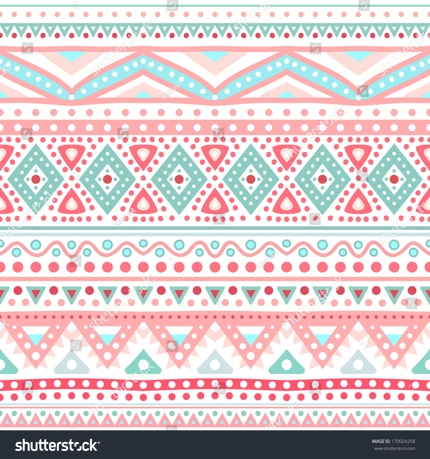 Blue Tribal Wallpapers: Tribal Ethnic Seamless Stripe Pattern Vector Stock Vector
