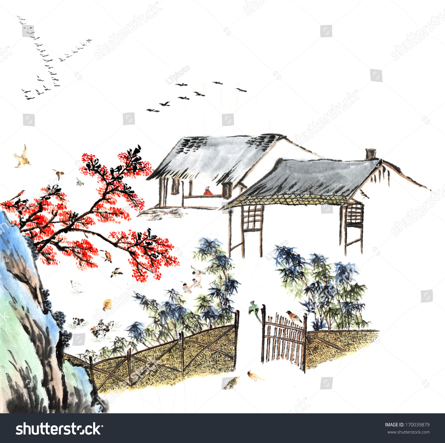 Classic China--Chinese painting--the old house in the country