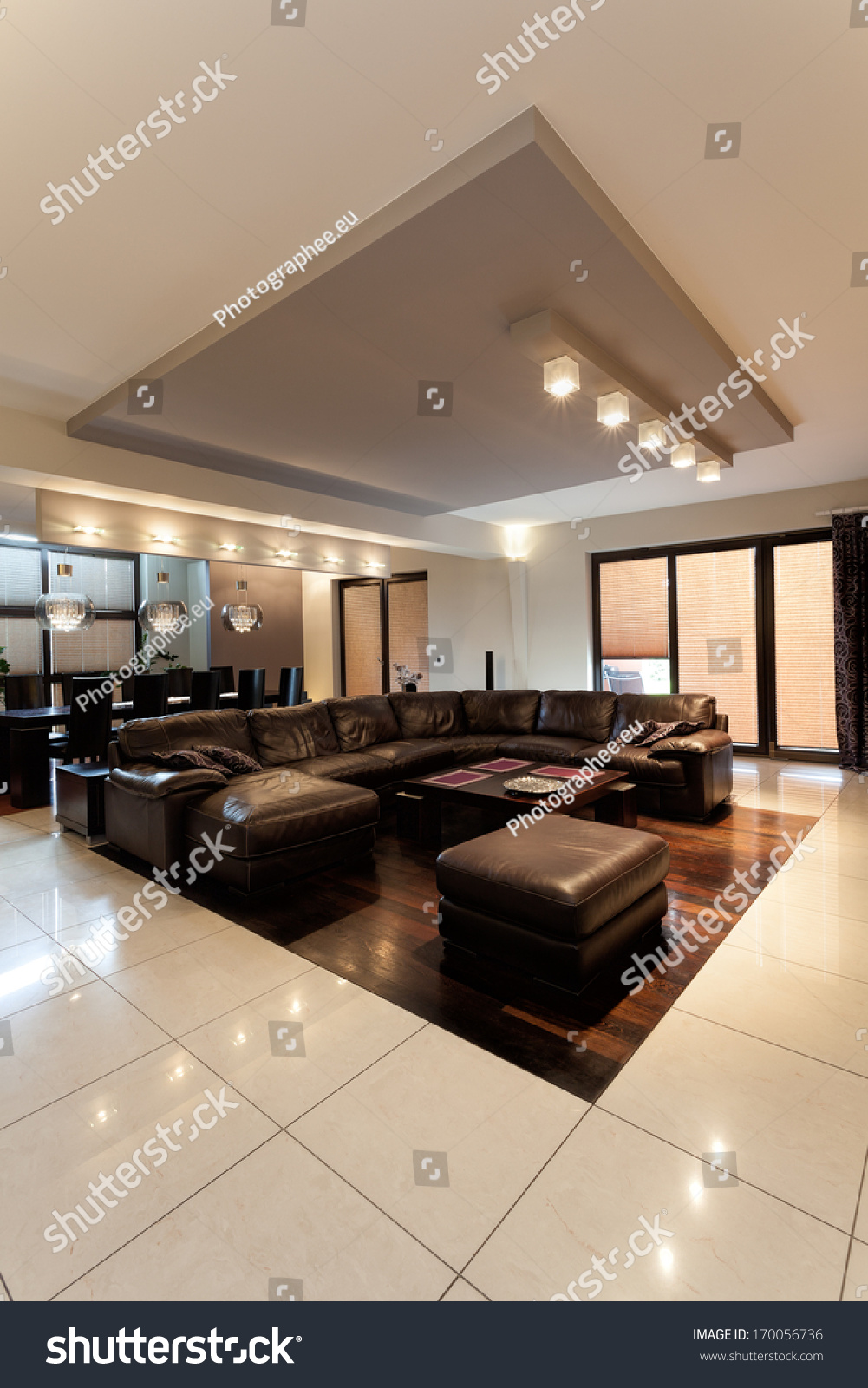 Big Comfy Brown Leather Sofa Classy Stock Photo Edit Now 170056736