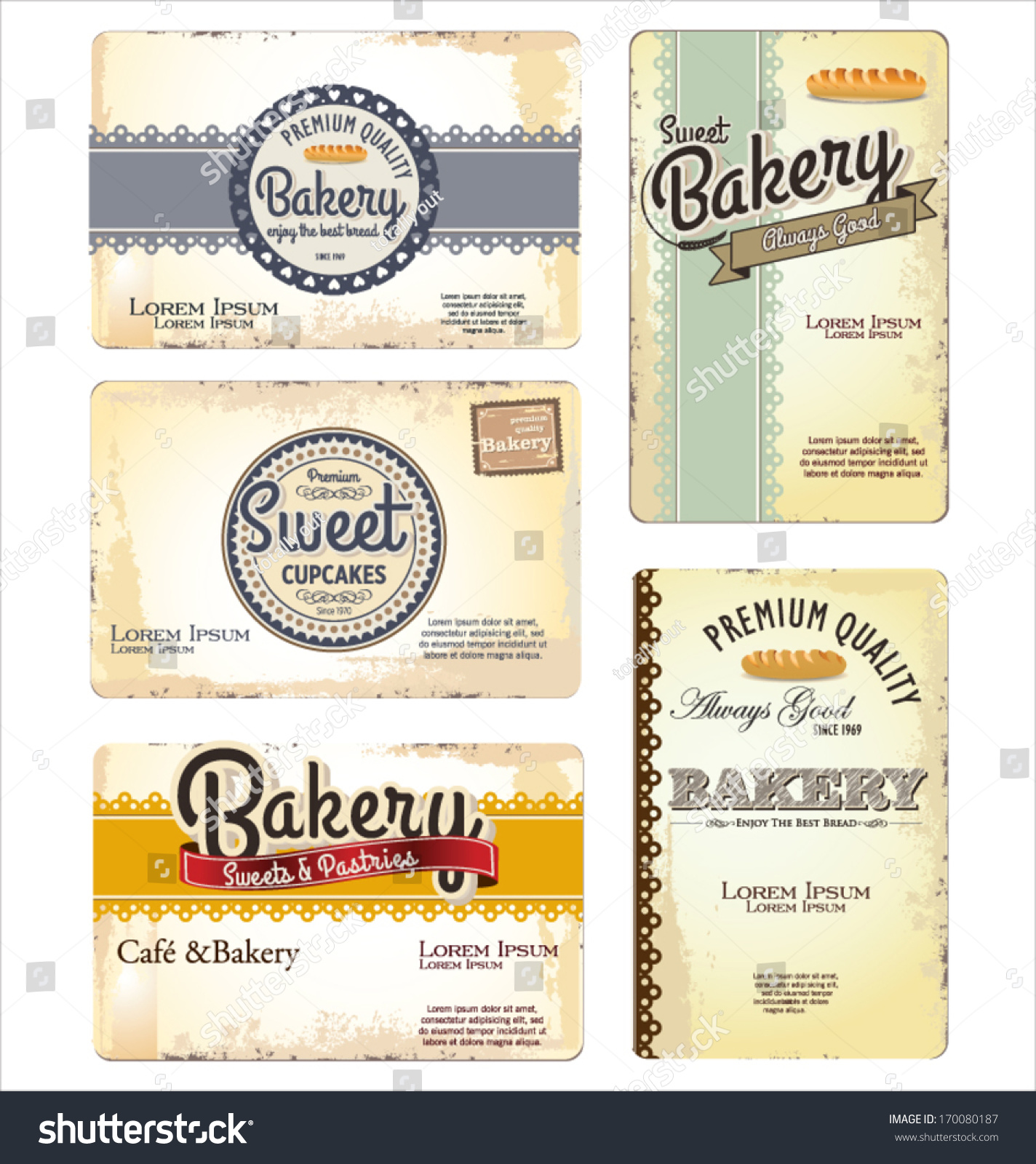 Set 5 Bakery Retro Business Card Stock Vector Shutterstock