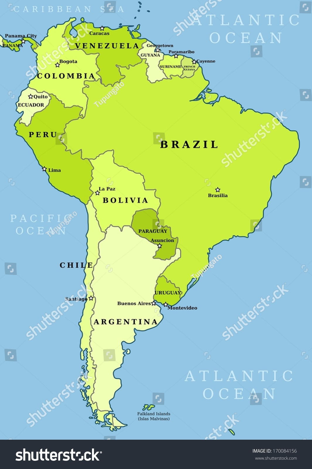 Country Map Of America.Map South America Political Division Countries Stock Illustration