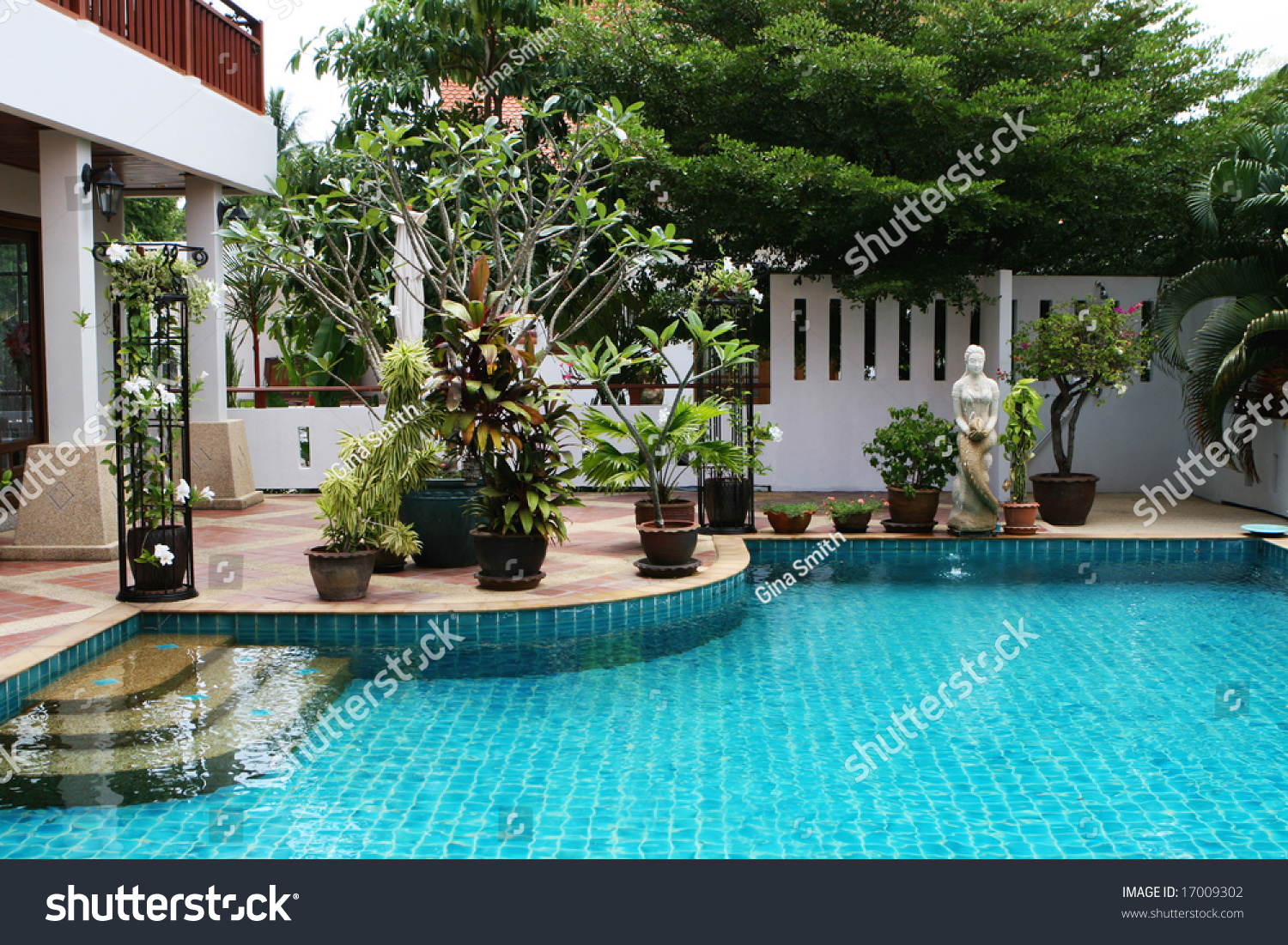Beautiful Swimming Pool In The Courtyard Of A House In Thailand Stock Photo 17009302 Shutterstock