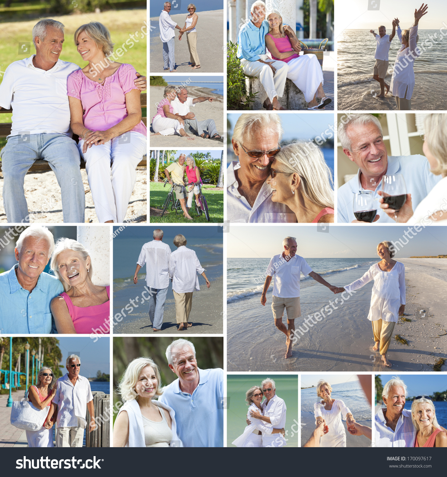 Woman Enjoying At Beach Stock Image Image Of Pleasure: Montage Happy Old Senior Man Woman Stock Photo 170097617