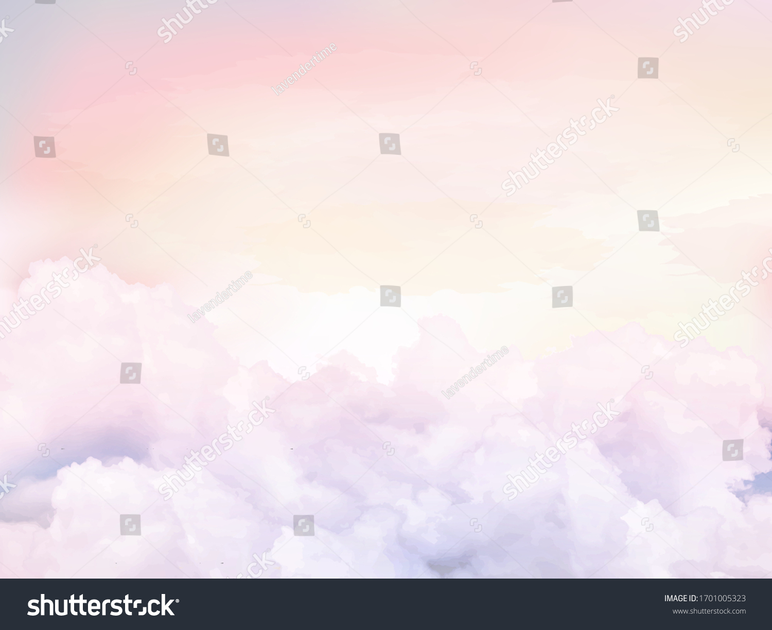 Sugar cotton pink clouds vector design background. Glamour fairytale backdrop. Plane sky view with stars and sunset. Watercolor style texture. Delicate card. Elegant decoration. Fantasy pastel color #1701005323