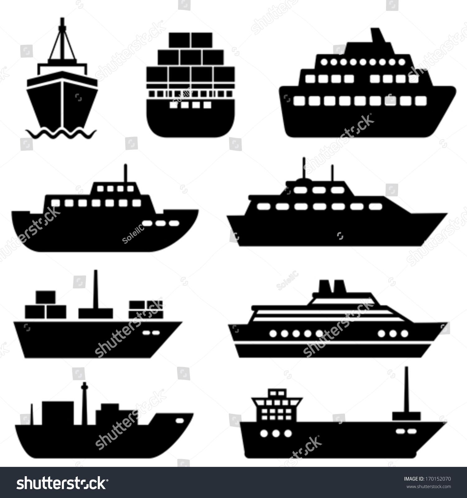 ship boat icon set stock vector 170152070 shutterstock