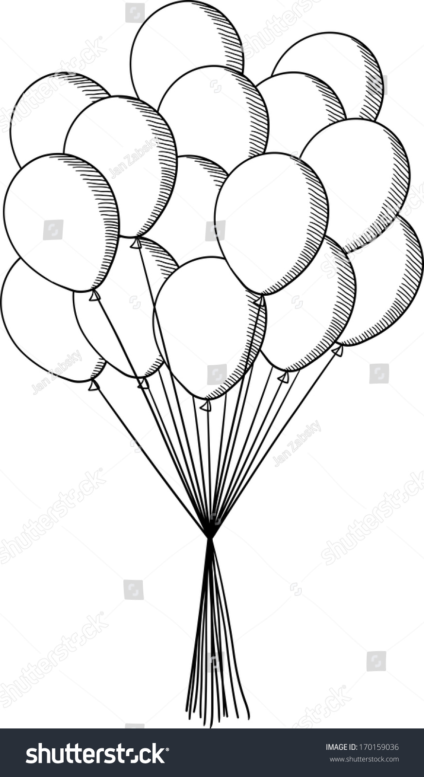 party balloons illustration sketch style