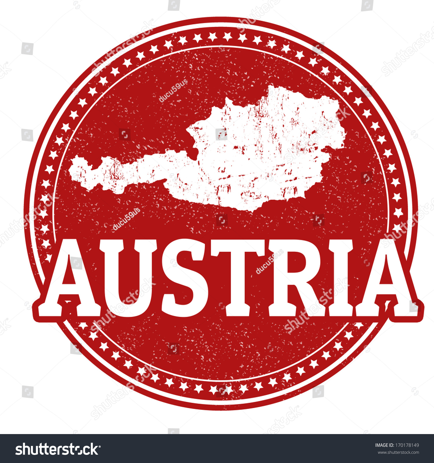 Vintage Stamp With World Austria Written Inside And Map Of Vector Illustration