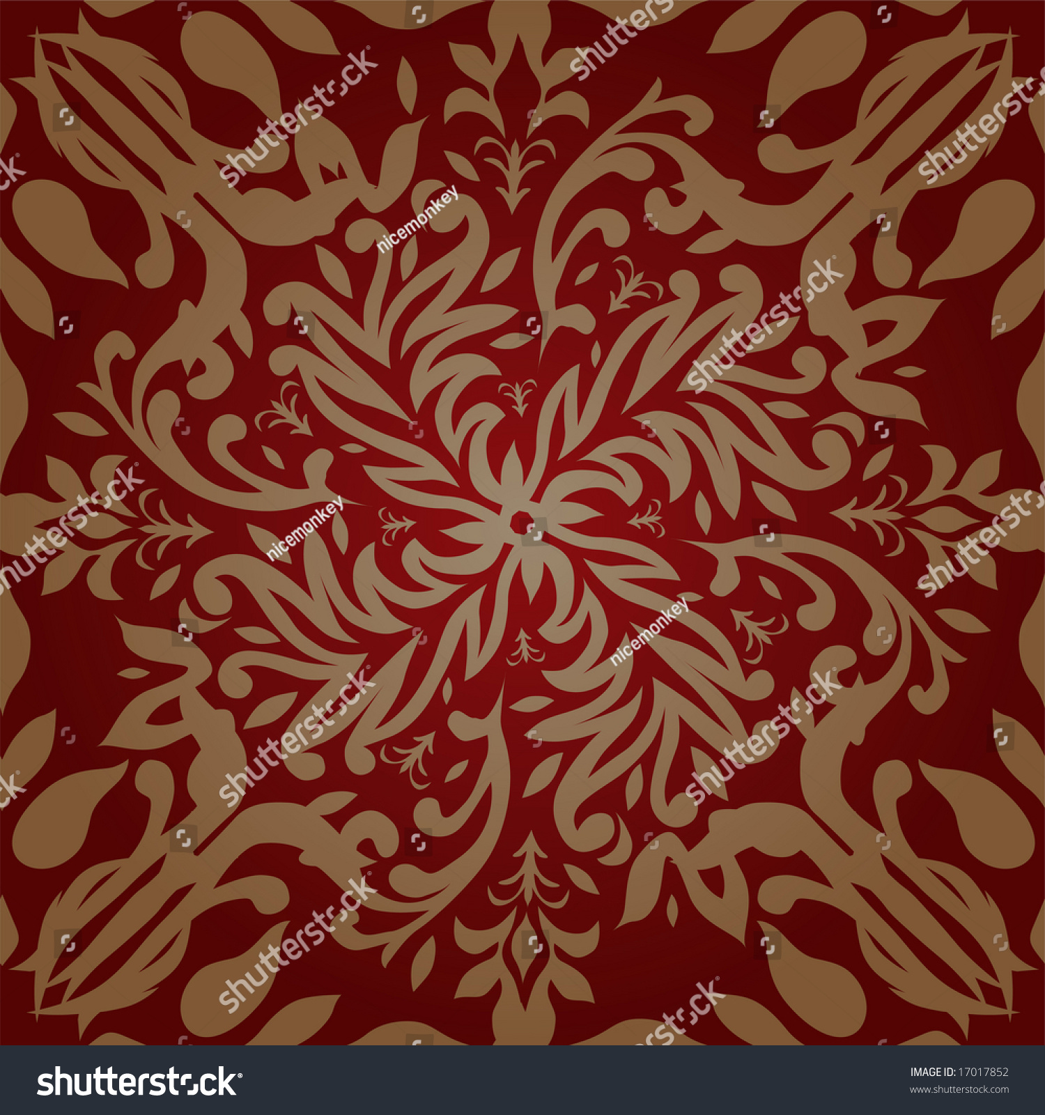 Maroon And Gold Retro Wallpaper Design That Seamlessly Repeats