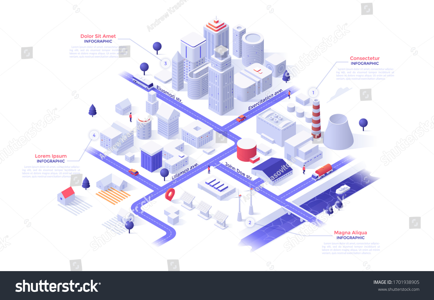 Isometric map of metropolis city with paper white downtown skyscrapers, suburban houses, industrial buildings, power plants, streets, river, bridge. Infographic design template. Vector illustration.