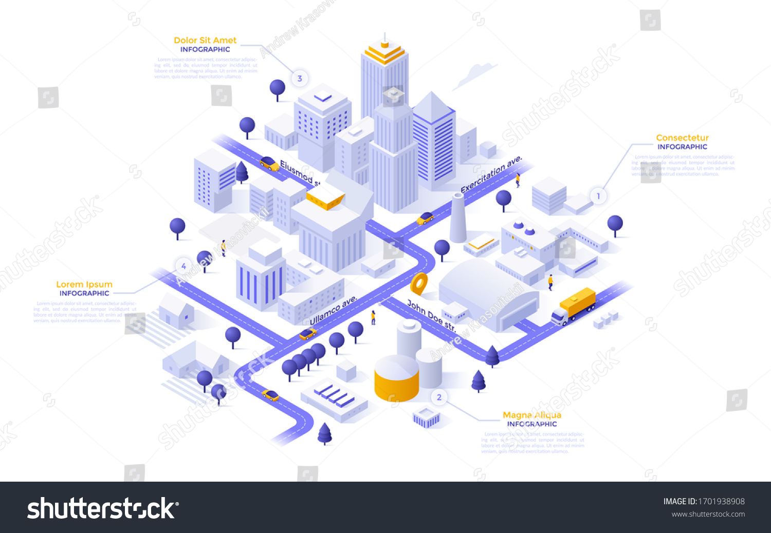 Isometric map of city downtown or business district, industrial zone and suburban area with paper white buildings, houses and skyscrapers. Modern infographic design template. Vector illustration. #1701938908