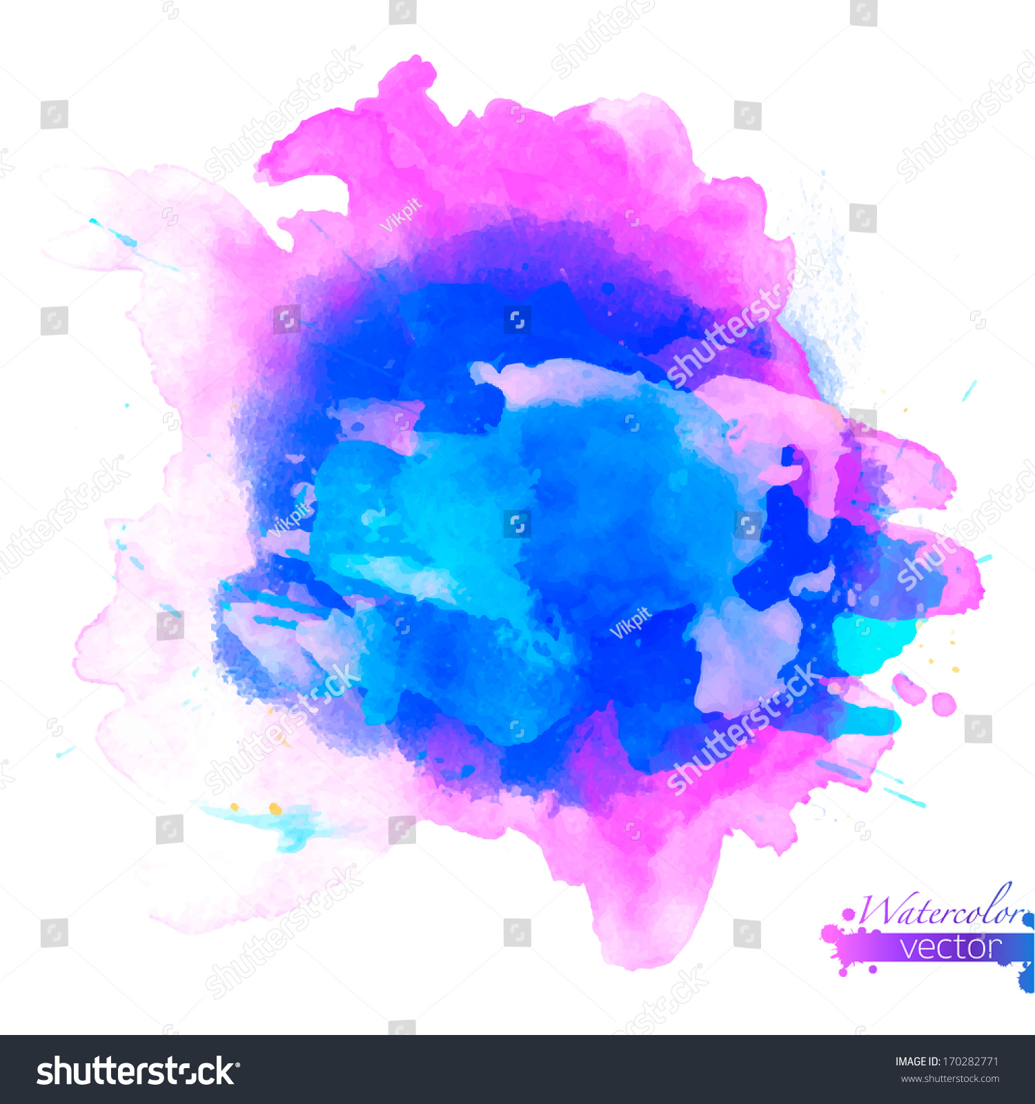 Abstract Watercolor Palette Blue Colors Mix Stock Vector