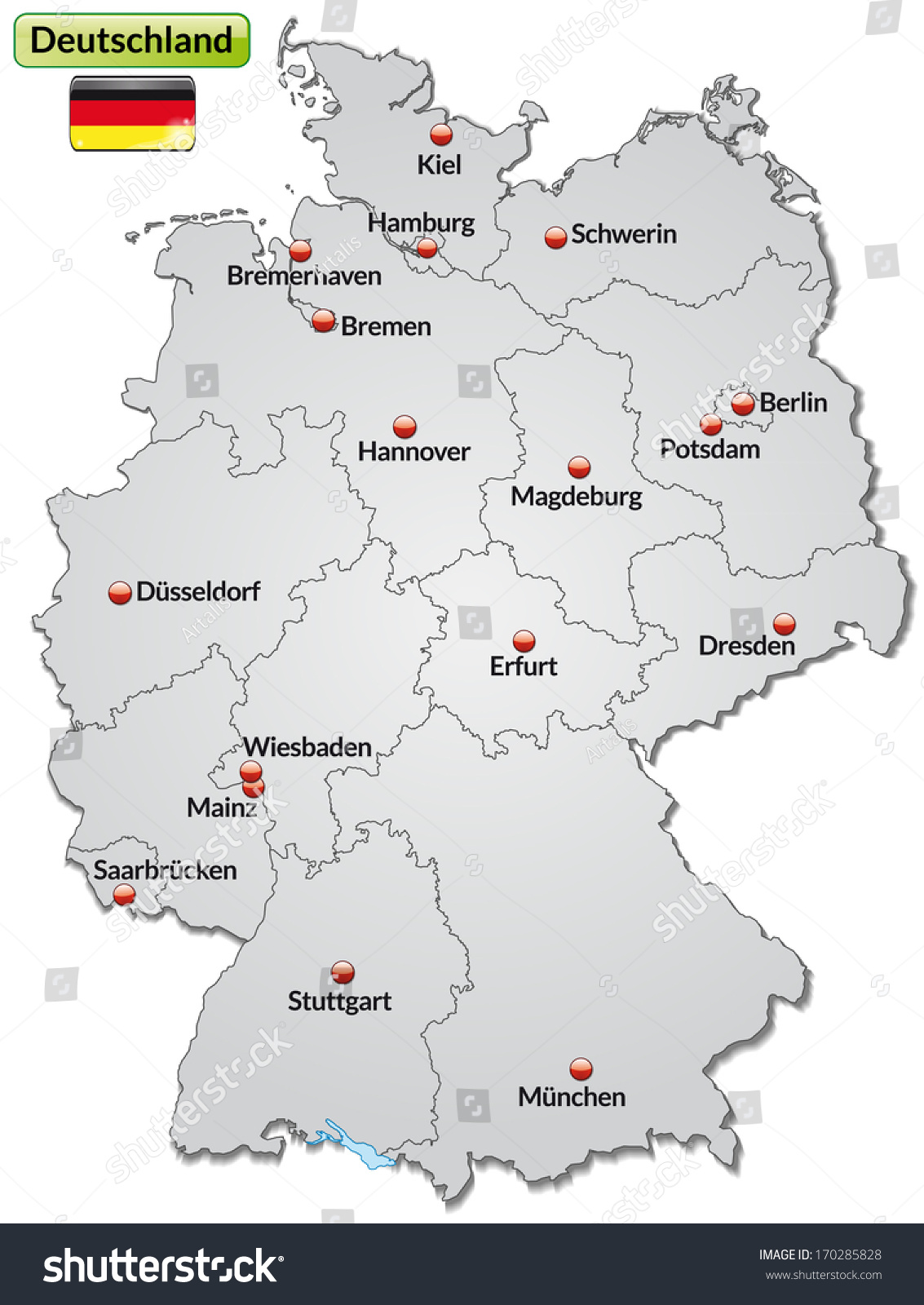 Map Germany Main Cities Gray Stock Illustration - Germany map with cities