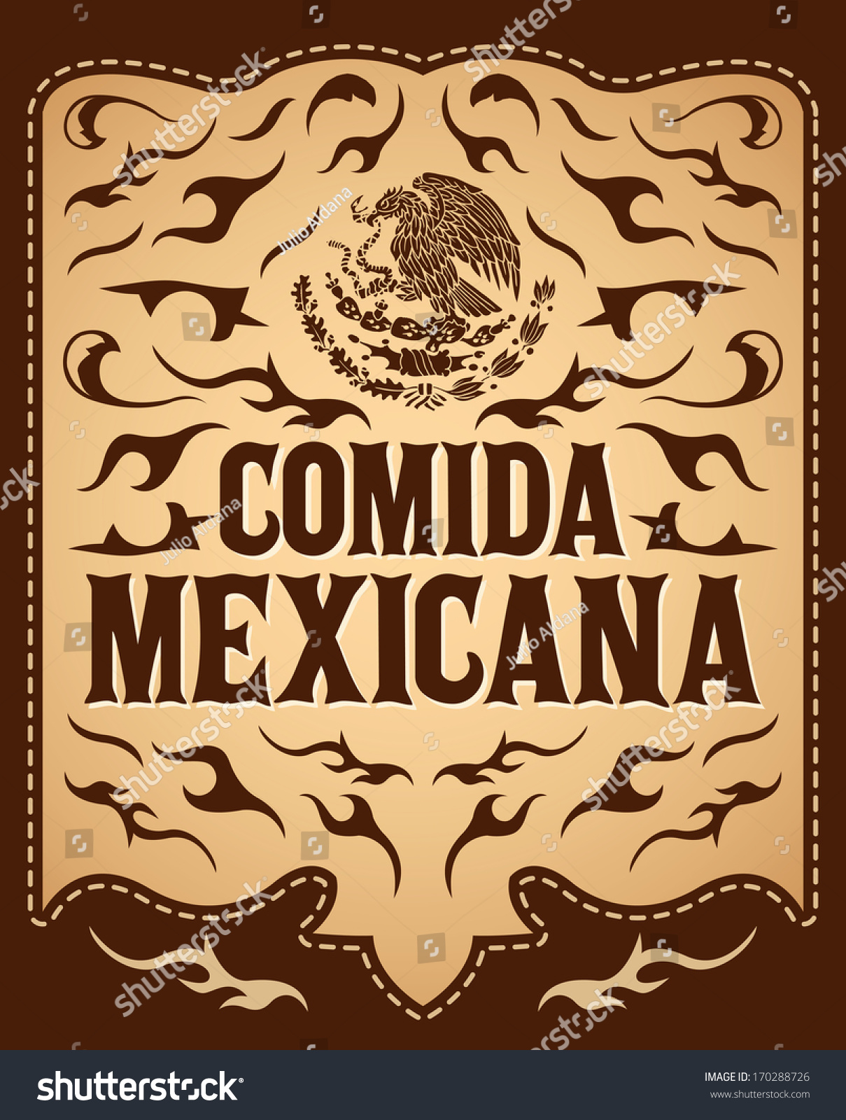comida mexicana mexican food spanish text stock vector (royalty free