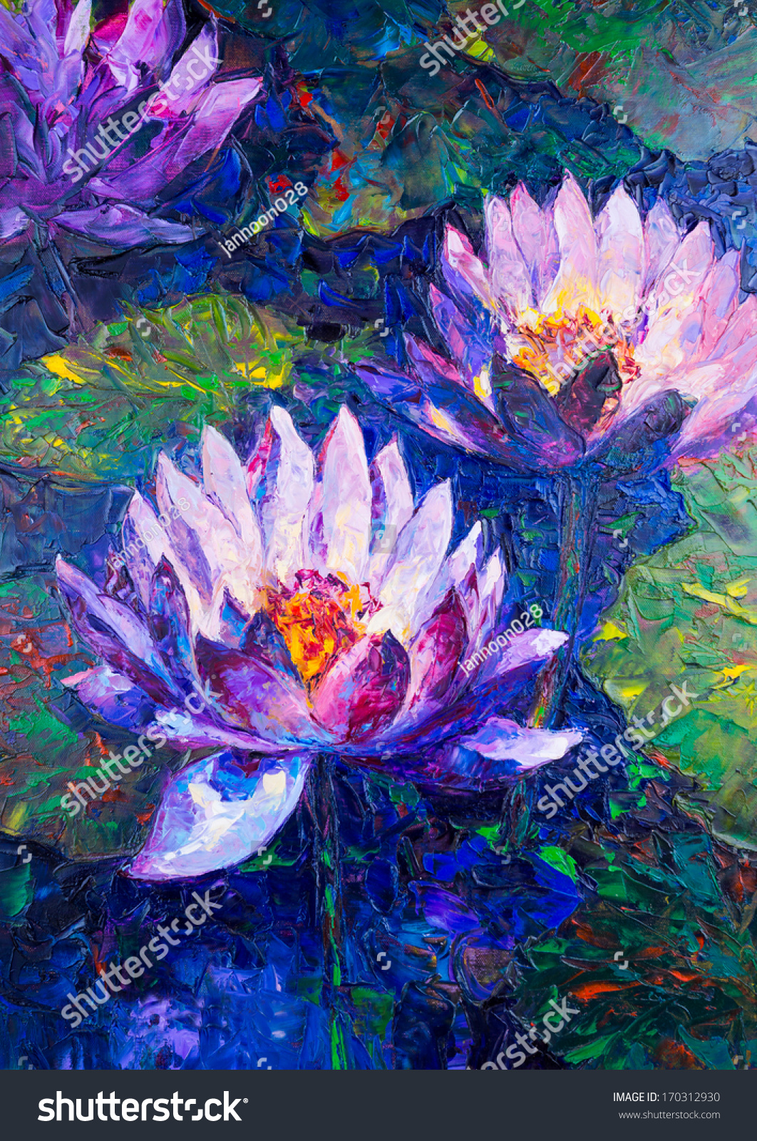 Oil Painting Beautiful Lotus Flower Stock Photo Edit Now 170312930