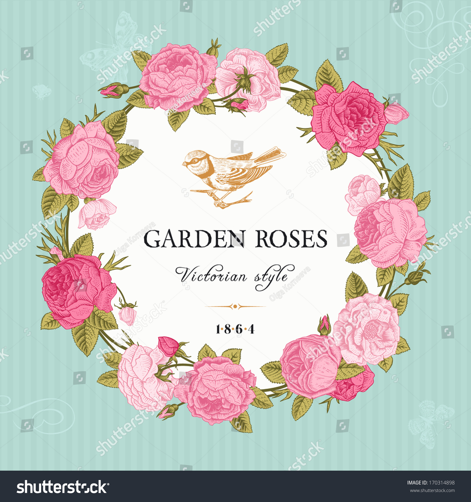 English rose garden wallpaper - Round Frame Of Pink Garden Roses On Mint Background Victorian Style