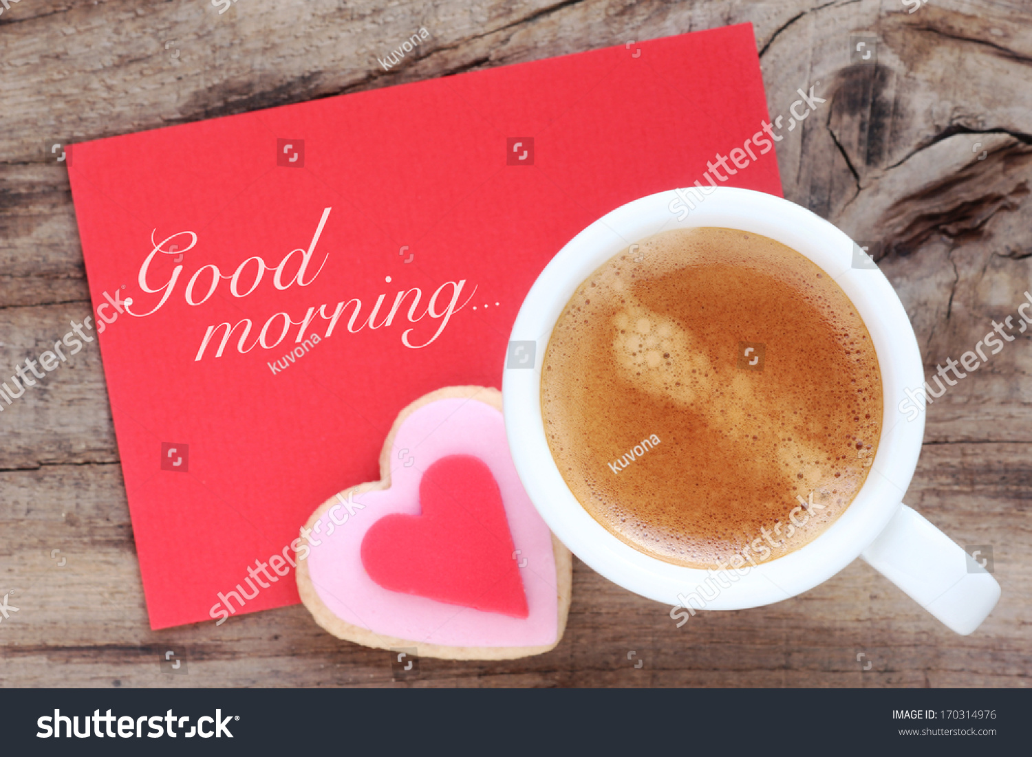 Cup espresso creamy foam romantic heart stock photo 100 legal cup of espresso with creamy foam with a romantic heart shaped cookie and a red greeting m4hsunfo