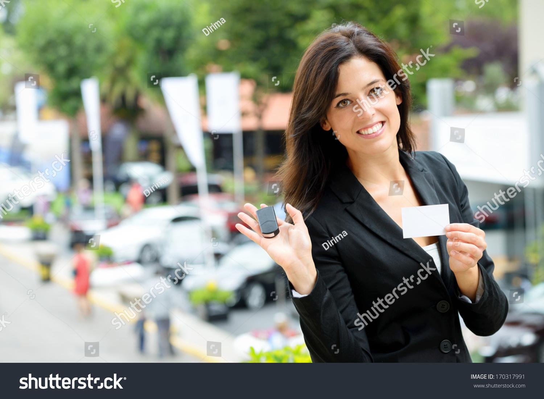 Successful Female Car Sales Representative Showing Stock Photo ...