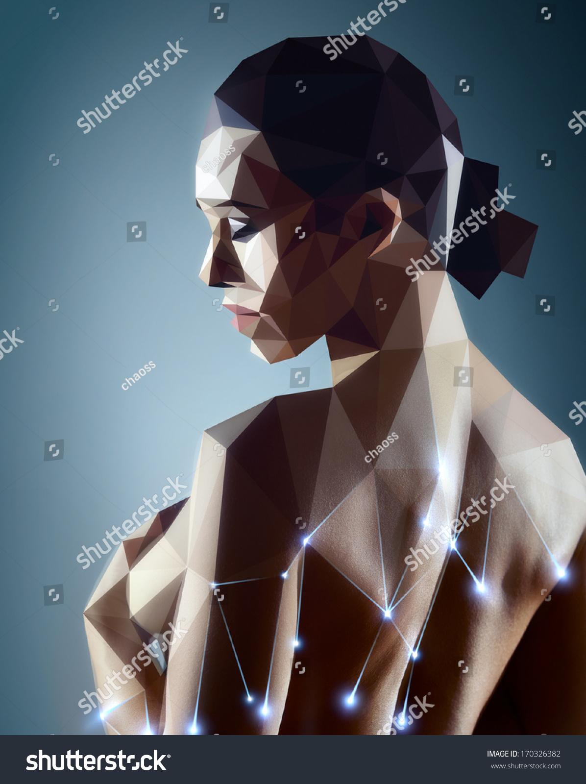 Woman Portrait Real Woman Digitizing Robot Stock Photo (Royalty Free ...