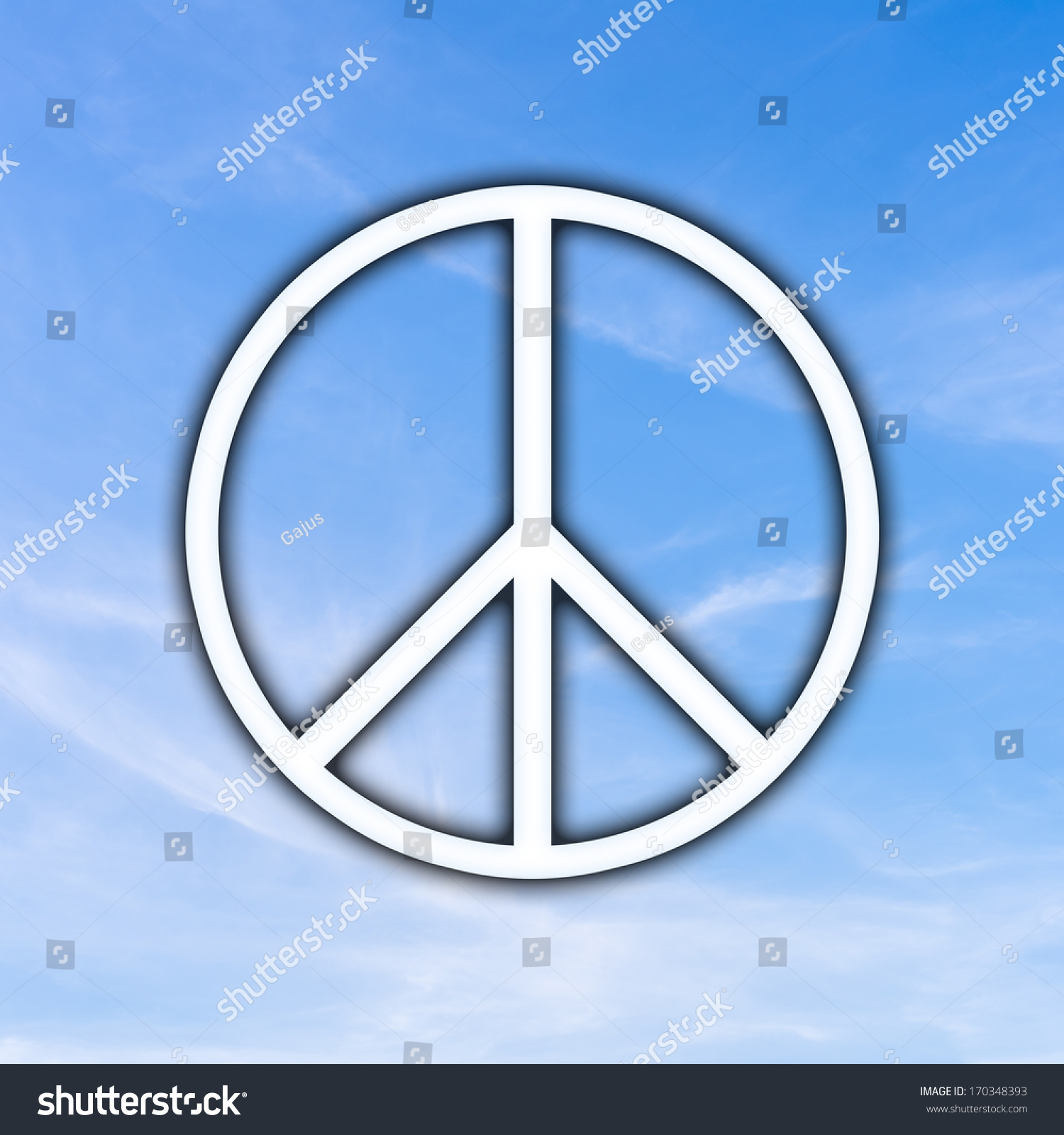 Universal Peace Sign Over Sunny Blue Stock Photo Edit Now