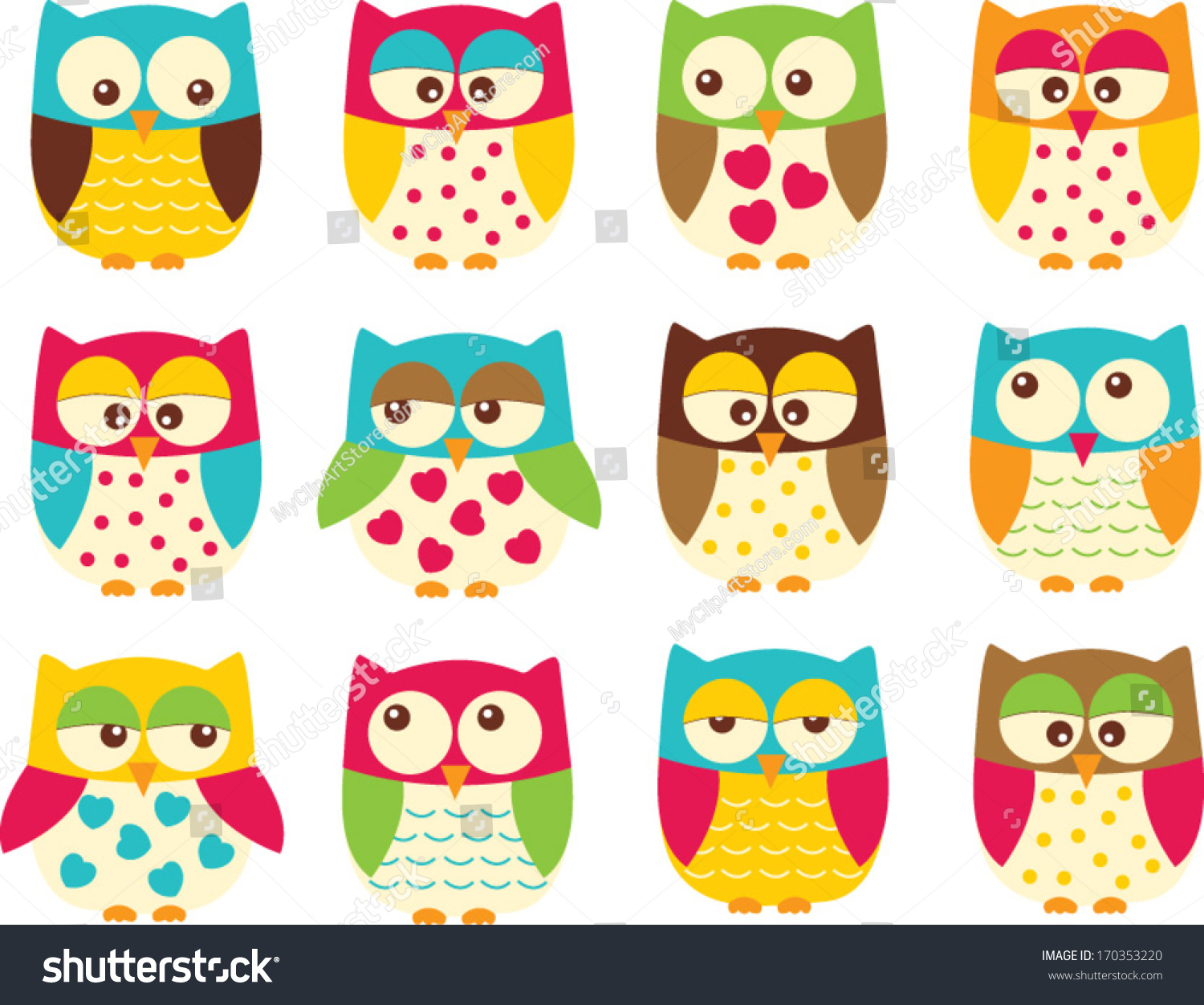 colorful owls stock vector 170353220 shutterstock