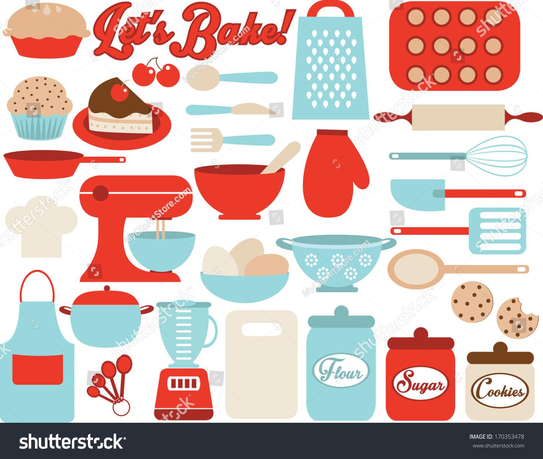 Red Retro Kitchen Accessories Retro Kitchen Utensils Stock Vector 170353478 Shutterstock