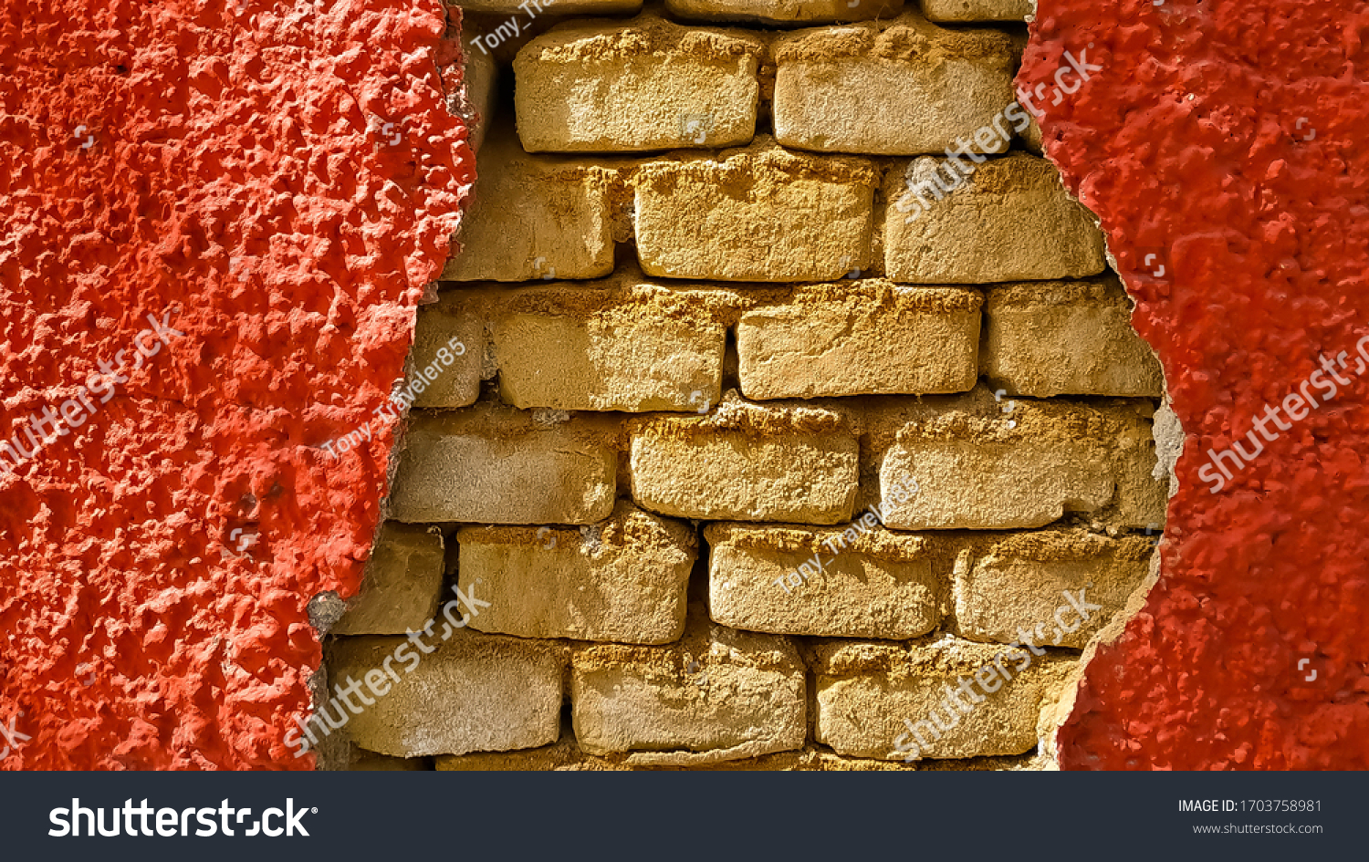 Crack in the wall, conceptual background and wallpaper.