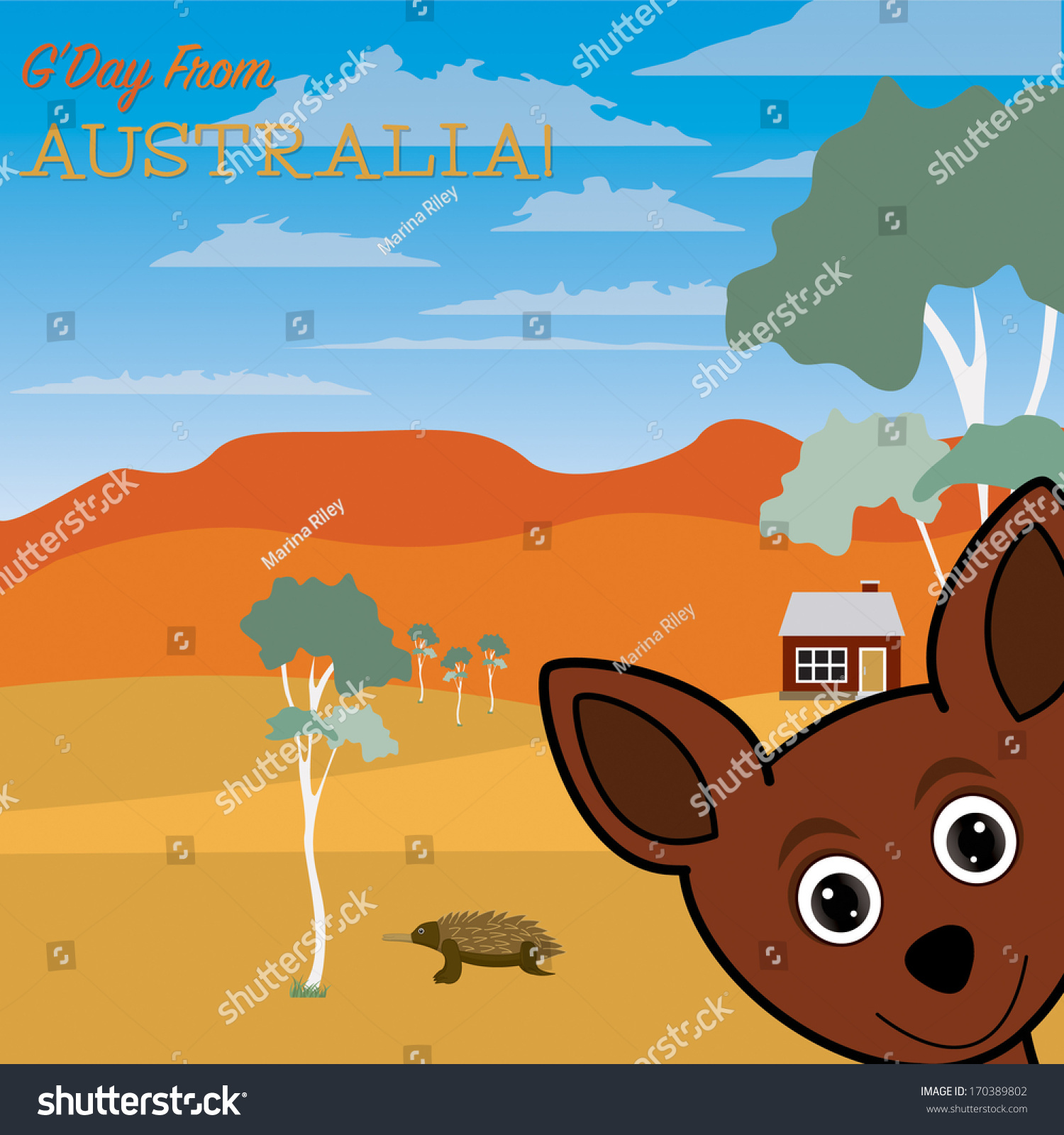 Gday australia greeting card vector format stock vector 170389802 gday from australia greeting card in vector format kristyandbryce Gallery