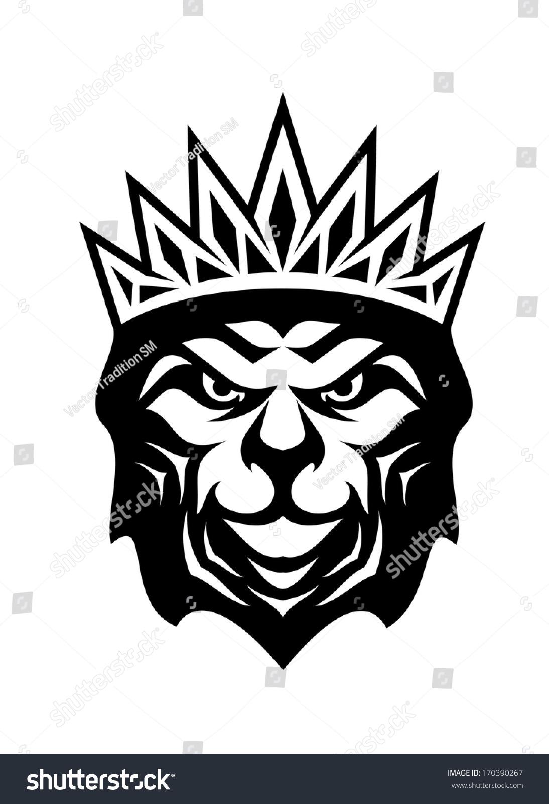 Heraldic Crowned Lion Symbol Royalty King Stock Vector 170390267