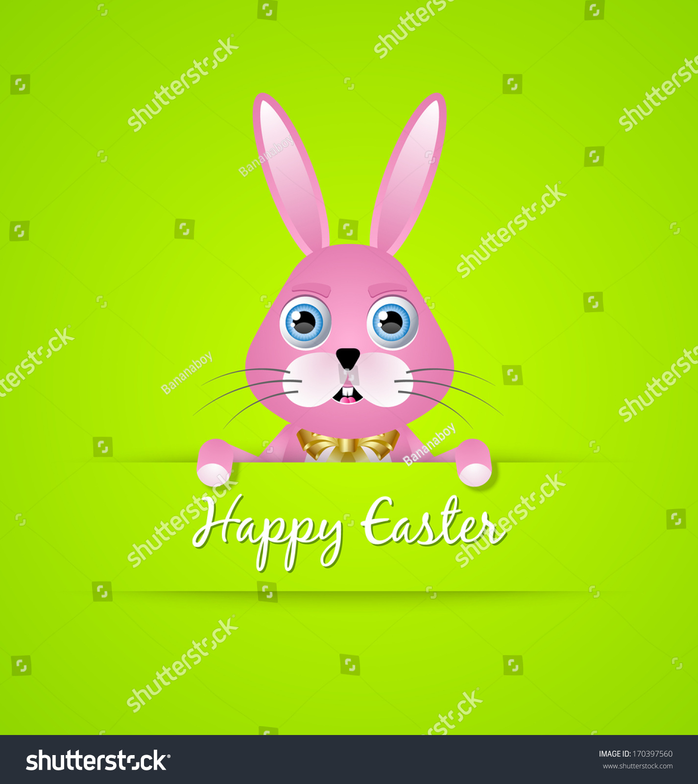 Doodle hand drawn Easter vector illustration with cute rabbit in