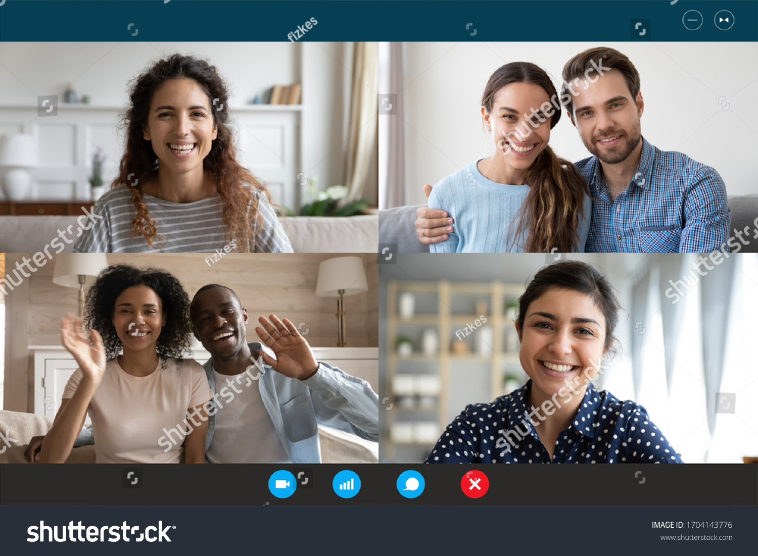 Laptop webcam screen view multiethnic families contacting distantly by videoconference. Living abroad four diverse friends making video call enjoy communication, virtual interaction modern app concept #1704143776