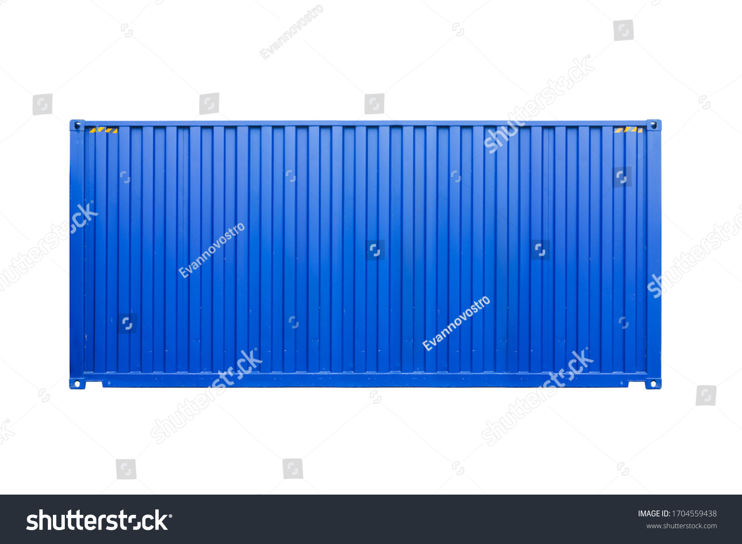 Standard blue cargo container isolated on white background, side view. Modern industrial shipping equipment #1704559438