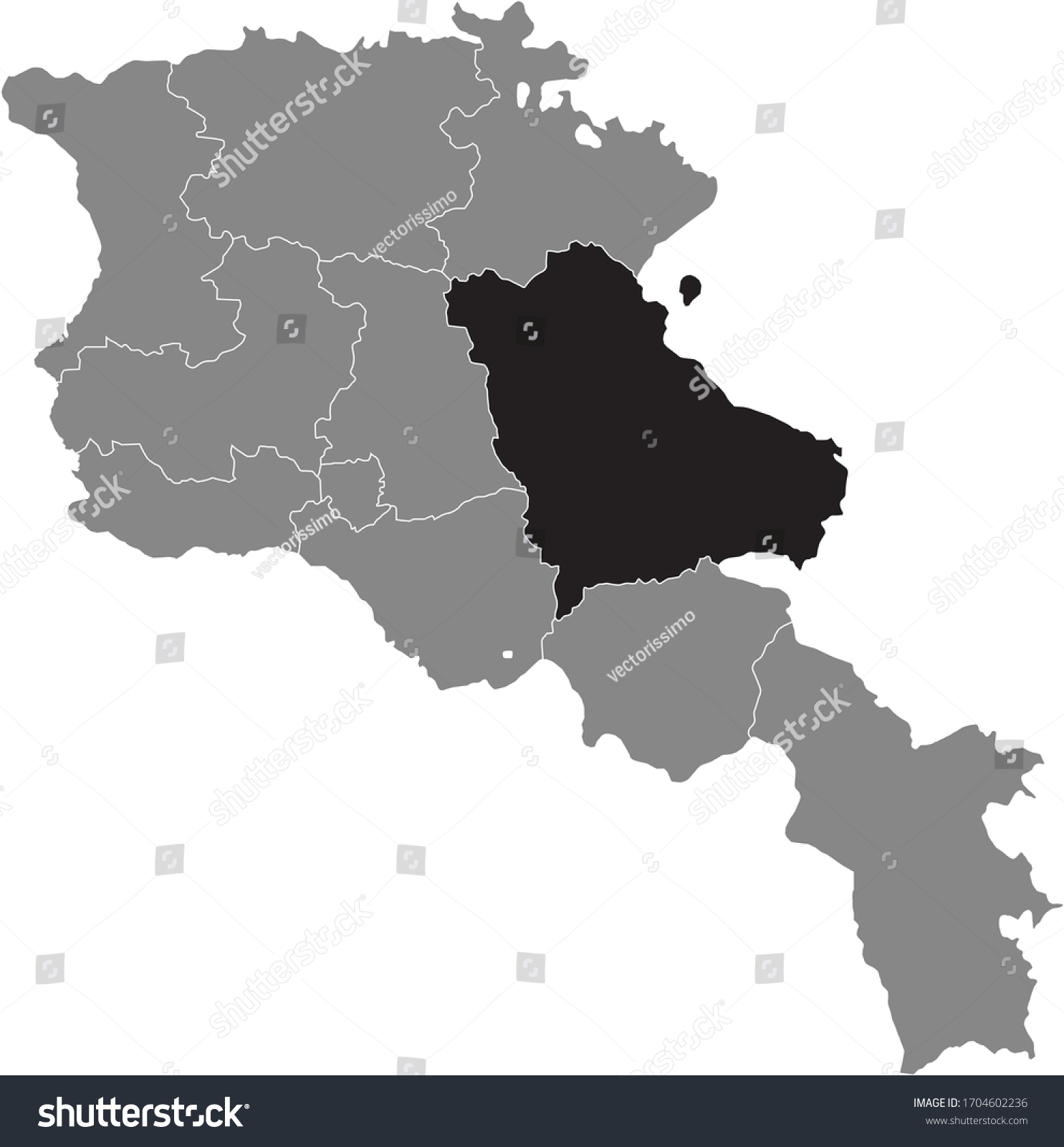 Picture of: Black Location Map Armenian Province Gegharkunik Stock Vector Royalty Free 1704602236