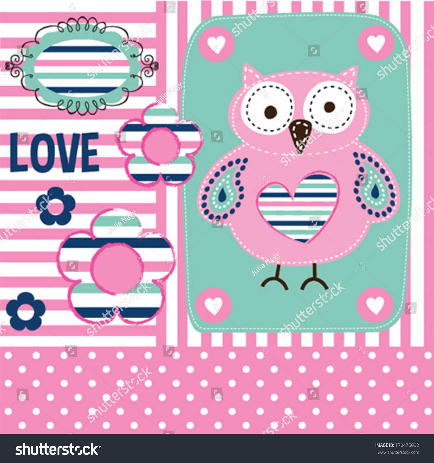 Cute owl happy valentine invitation card stock vector 170475092 cute owl happy valentine invitation card vector illustration stopboris Choice Image