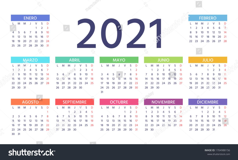 20 Spanish Calendar Week Starts Monday Stock Vector Royalty ...