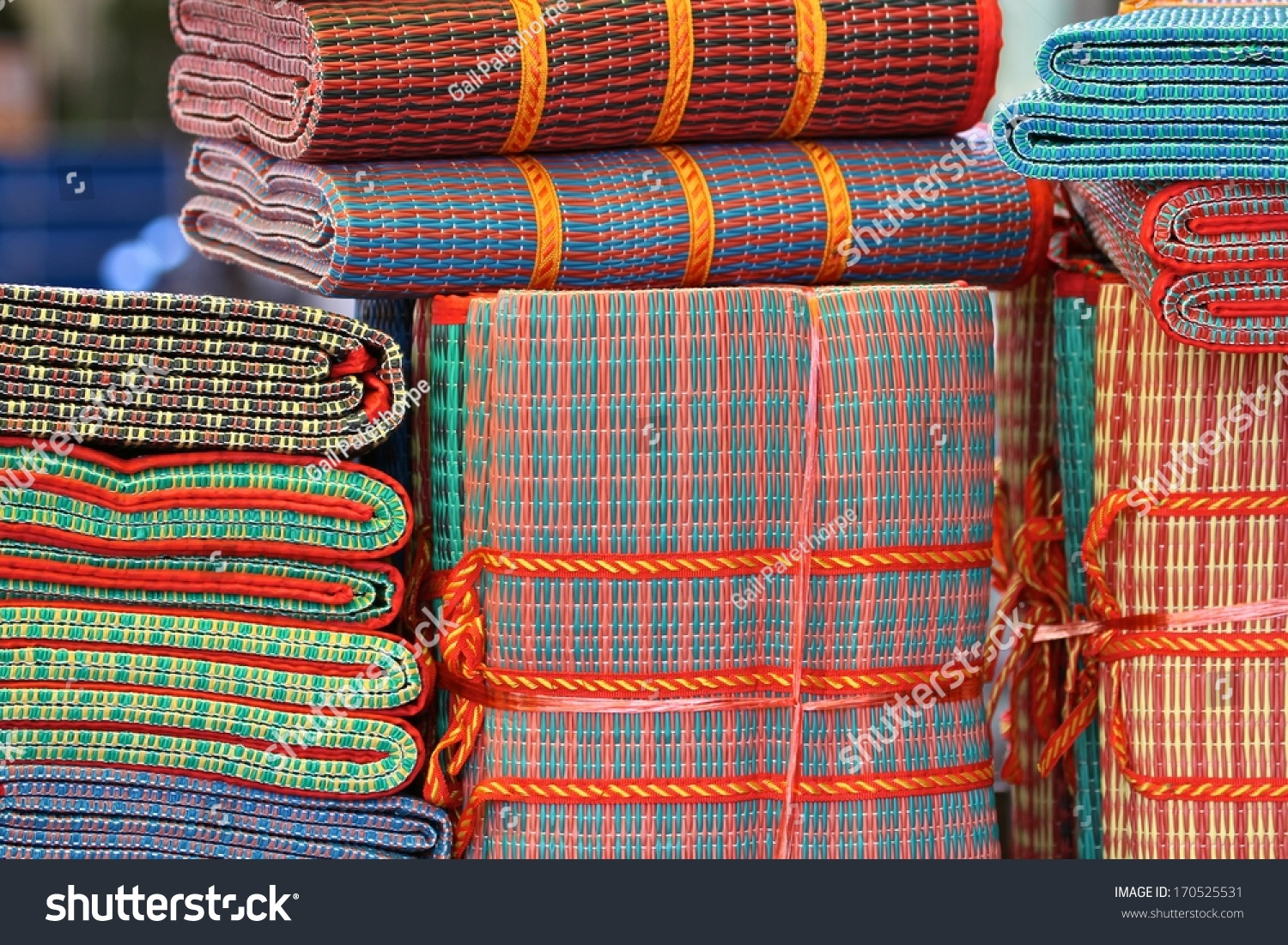 Floor mats sale - Generic Colorful Floor Mats On Display For Sale In Siem Reap Cambodia
